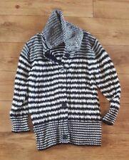 Ladies 'M&Co' Black/White long sleeve big knit roll neck Cardigan. Size M. vgc.