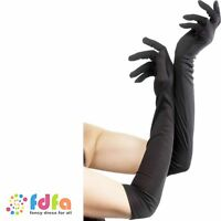 LONG BLACK NYLON GLOVES BURLESQUE HALLOWEEN - womens ladies fancy dress costume