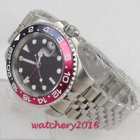40mm parnis Black Dial GMT Date Sapphire Glass Super LUME Automatic men's Watch