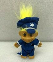 Vintage Troll Doll Russ Police Officer Sheriff Cop Outfit Hat Yellow Hair 5""
