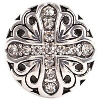 Antique Silver Rhinestone Cross 18mm Snap Charm For Ginger Snaps Magnolia Vine