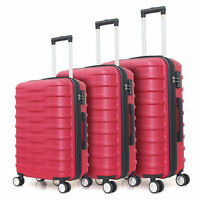 3 Piece Luggage Set Expandable Hardside ABS w/Spinner Wheels and TSA Lock Red