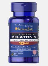 Puritan's Pride Melatonin 10mg Quick Dissolve Cherry Flavor 45 Tablets