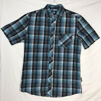 Phat Farm Mens Medium Blue Plaid Short Sleeve Button Front Shirt EUC