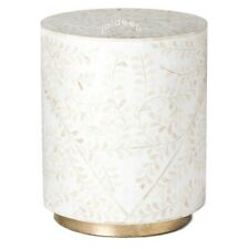 Handmade Bone Inlay White Floral Brass Polish Round Side Table