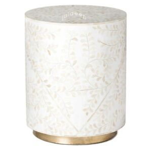 Handmade Bone Inlay White Floral Round Side Table