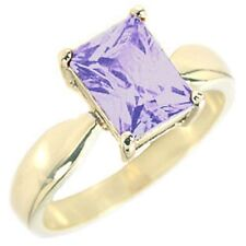 14K GOLD EP 4.5CT AMETHYST SOLITAIRE RING SIZE 5 - 10 you choose