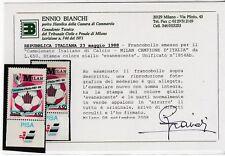 FRANCOBOLLI - 1988 REPUBBLICA MILAN AZZURRO L.650 GIALLO EVANESCENTE MNH Z/9492