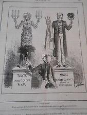 Caricature 1885 Utile Dulci ! Tante Ursule et Oncle Canivet Galvanoplastie