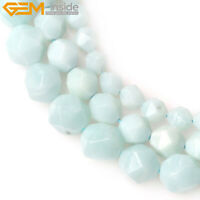 """Natural Gemstone Faceted Pure Amazonite Cambay Beads For Jewelry Making 15"""" DIY"""