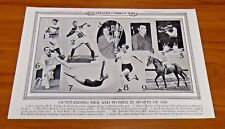 Sports Stars Lou Gehrig 1936 Original Illustrated Current News 19x12 Great Cond