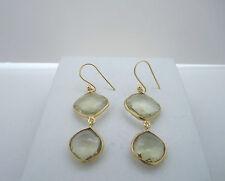 18K Gold Plated Over 925 Silver Lemon Quartz Double Drop Earrings SE: 088