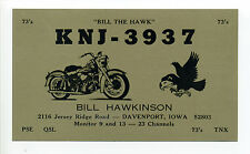 Davenport IA Iowa Motorcycle CB Radio card, Bill the Hawk, Jersey Ridge Road