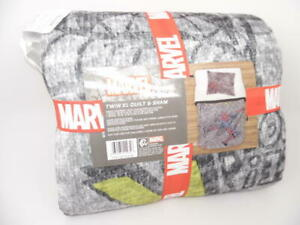 Marvel Spider-Man Hero Gray & Blue Quilt & Sham Set Twin XL 2-pc Blue Gray NWT