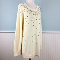 SIZE 3X INC Ivory Jeweled Beaded Bling Tunic Sweater Top Women's Plus NWT New