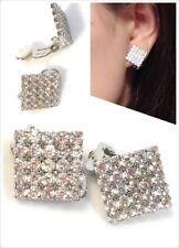 Classic Crystal Rhinestone Diamante Square CLIP ON Earrings Stud Mens Womens