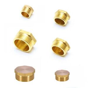"Brass Hex Plug Cap Tube Thread Fitting Socket Pipe 1/8"" 1/2"" 1/4"" 3/8"" 3/4"" 1"""