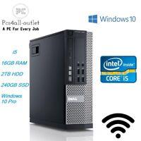 Fast Dell Optiplex SFF/Desktop Core i5 16GB RAM 2TB HDD SSD Windows 10 PC WiFi