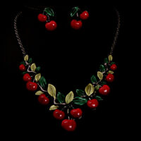 Resin Cherry Gift Chain  Necklace  Fashion  Red  Women's  Pendant  Bib