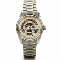 Mens Luxury Skeleton Stainless Steel Mechanical Automatic Analog Wrist Watch New