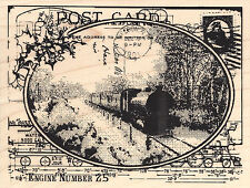 Train Postcard Wood Mounted Rubber Stamp STAMPENDOUS Steam Engine R187 New