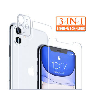 For iPhone 12 11 XR X 7 Tempered Glass Screen Protector Camera Lens +Front +Back