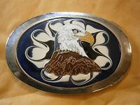 Bald Eagle Blue White Swirl Inlay Red Enamel Silver Men's Belt Buckle