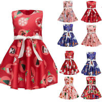 Infant Baby Girls Cartoon Santa Princess Dress Christmas Dress Outfit Clothes AU