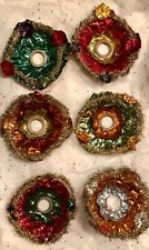 6 Antique Vtg Colorful Foil Tinsel German Christmas Light Bulb Cover Reflectors