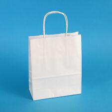 300 Premium Papiertragetaschen Papiertüten weiß mit Kordel 18+8x22cm 90g/m²