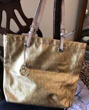 Michael Kors 1974222 Gold Metallic Brown Signature Diaper Satchel Tote Handbag