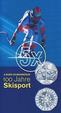 5x Österreich 5 Euro 2005 Silber 100 Jahre Skisport hgh im Blister