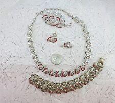 Vintage Coro Pegasus Silver Tone Leaf Necklace Bracelet Earrings & Brooch Set