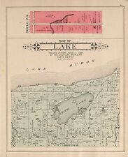 1904 Huron County plat map Michigan old Genealogy history Atlas Land P117