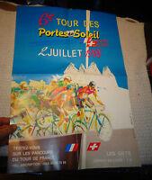 Ancienne Affiche Tour des Portes du Soleil 1988 à Vélo Parcours Tour de France