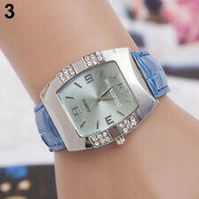 Ladies Fashion Silver Case Blue Dial & Rhinestone Quartz Blue Band Wrist Watch.