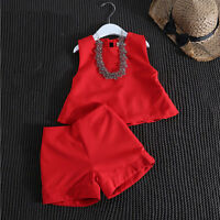 Toddler Baby Kids Girls Summer Vest T-shirt Tops Short Pants Clothes Set Outfits