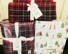 Pottery Barn King Duvet Lynbrook Shams Ski Lodge Sheet Set Christmas Plaid Euro