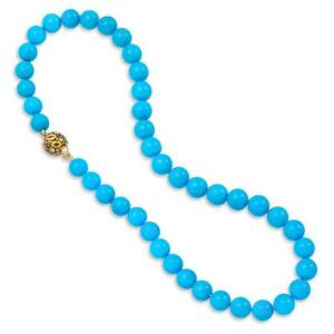 """Rare Sleeping Beauty Turquoise Round Bead 20"""" Necklace with 18K Yellow Gold Over"""