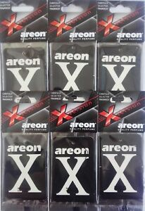6 x Areon X Version Car Air Fresheners  Black Crystal  Home Office Taxi Scent