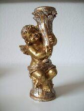 schöner kleiner goldener Engel Kerzenhalter / 18,5 cm hoch