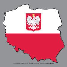 SKU2685 - Poland Polish Map Flag Vinyl Sticker Bumper Car Helmet - 120mm x 114mm