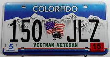 """USA Nummernschild aus Colorado """"VIETNAM VETERAN"""" mit Flagge/Hubschrauber. 8812."""