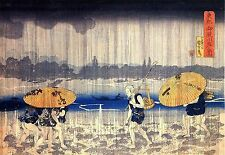 Japanese Woodblock Reproduction Print Heavy Rain by Utagawa Kuniyoshi A3 Picture