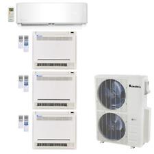 Klimaire 4-Zone 50K Btu 21 Seer 9K Wall 18000 X3 Console Ac Mini Split Heat Kits