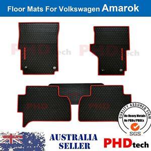 Amarok Tailored All Weather Rubber Car Floor Mats 2011- 2021 RED Trim LOGO
