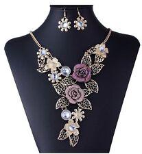 Fashion Flower Crystal Pendant Women Bib Choker Statement Set Necklace Earrings