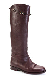 Valentino Garavani Womens Knee High Pebbled Leather Boots Burgundy Size 37.5 7.5