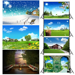 Summer Green City Background Cloth Photography Backdrop Props