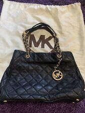 Michael Kors Susannah Large Black Smooth Leather Quilted Handbag Shoulder Bag